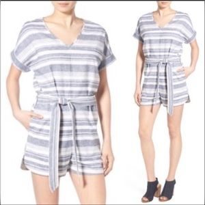 Madewell•Romper Linen Striped with Belt   M